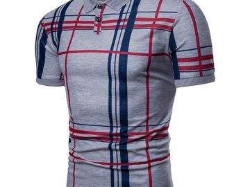Vente avec paiement en ligne: Hommes Plaid Polo chemise 2018 été luxe respirant décontracté hau