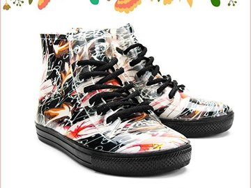 Buy Now: 60 Chemistry® Women's Ankle Flat Floral Jelly Rain Boots Sneaker