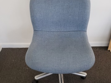 Selling Products: Metal Chair (Blue cloth cover) with no Arms and Rollers