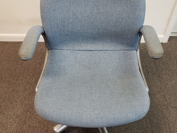 Selling Products: Metal Chair (Blue cloth cover) with Arms and Rollers