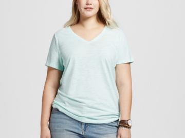 Buy Now: Women's Ava & ViV Plus Size 3X Aqua V-Neck Shirt