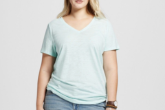 Buy Now: Women's Ava & ViV Plus Size 3X Aqua V-Neck Shirt