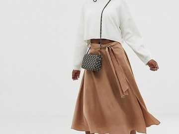 Selling without online payment: ASOS DESIGN Petite satin midi skirt with self belt
