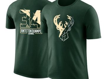 Vente avec paiement en ligne: Giannis Antetokounmpo T-shirt manches courtes coton sport basket