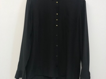 Selling: Black silk shirt with mismatched buttons