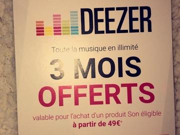 Vente: Carte Deezer - 3 mois offerts (30€)