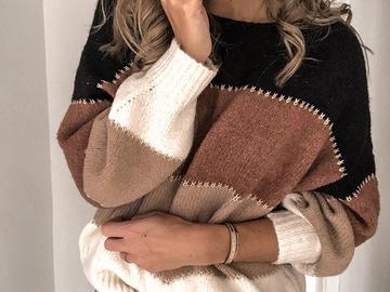 Vente avec paiement en ligne: automne hiver chaud tricoté pull 2019 femmes O cou Patchwork Sexy
