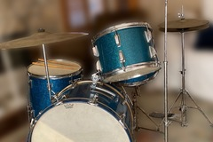 Selling with online payment: 1958 WFL Blue Sparkle set with Zildjian cymbals