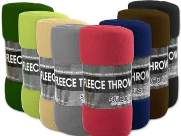 "Buy Now: (24) Fleece Blankets 60""x50"" - 8 Assorted Colors"