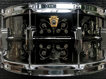 """Selling with online payment: Ludwig Hand Engraved Black Beauty LB417 6.5x14"""""""