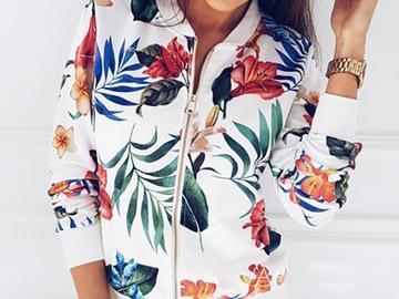 Vente avec paiement en ligne: Imprimer Bomber veste femmes fleurs Zipper Up rétro manteau print