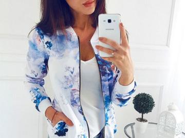 Vente avec paiement en ligne: Grande taille imprimé Bomber veste femmes poches Zipper manches
