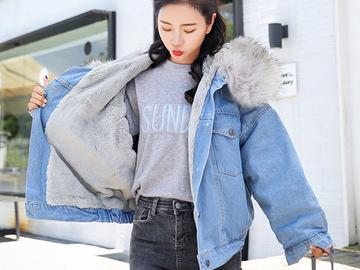 Vente avec paiement en ligne:  automne hiver chaud 2019 veste femmes grande fourrure capuche de