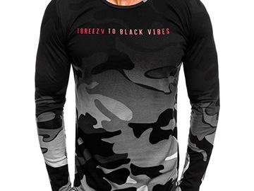 Vente avec paiement en ligne: 2019 marque vêtements Camouflage à manches longues hommes t-shirt