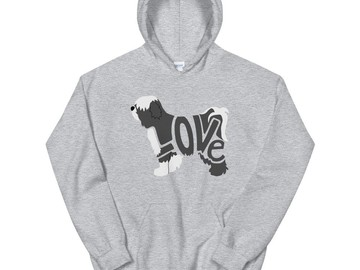 Selling: LoVe Hoodie - Tibetan Terrier Black/White