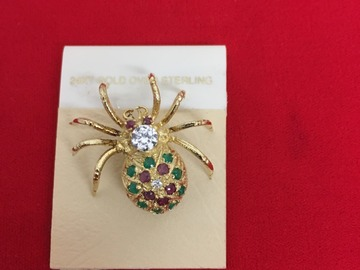 Buy Now:  Sterling Silver Vermeil Spider Pin w/semi precious stones $9.99