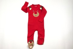 Selling with online payment: Christmas bear romper, age 6-9 Mths