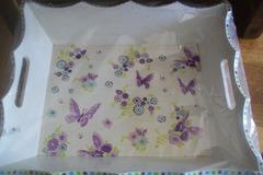 Vente au détail: plateau déjeuner décor papillons