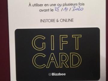 Vente: Carte cadeau Bizzbee (75€)