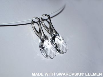 Vente au détail: SWAROVSKI Boucles d'oreilles cristal amande / argent 925