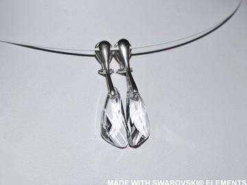 Vente au détail: SWAROVSKI Clips d'oreilles cristal wing blanc / argent 925