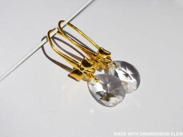 Vente au détail: SWAROVSKI Boucles d'oreilles cristal poire  / argent plaqué or ja