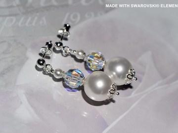 Vente au détail: SWAROVSKI Boucles d'oreilles en perle et cristaux / argent 925