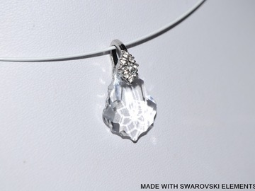 Sale retail: SWAROVSKI Pendentif cristal baroque blanc / plaqué argent