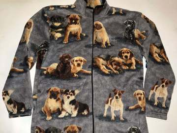 Selling: ZooFleece Dogs Cute Puppies Animal Pet Gray Fleece Sweater Jacket