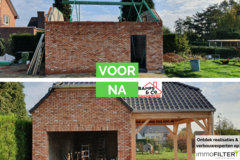 Click foto: [REALISATIE] Dakwerken Bamps en co | Garage en carport in eik
