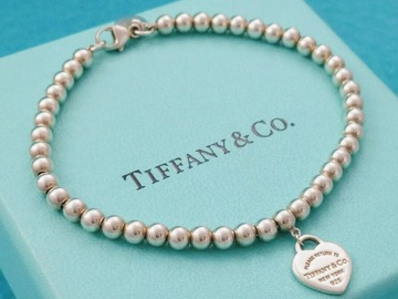 "Gifts: (SOLD) Tiffany & Co Mini Heart Bracelet 8"" inches + Box"