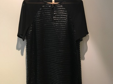 Selling: Black chiffon Sylvester dress with vegan leather dots