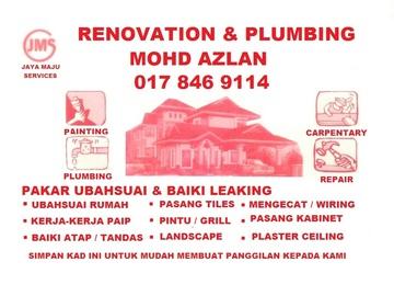 Services: plumbing dan renovation 0178469114 mohd azlan wangsa mju
