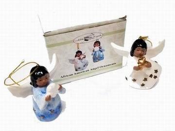 Make An Offer: Porcelain African American Angel Ornaments (Set Of 2)