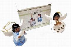 Make An Offer: Porcelain African American Angel Ornaments (Set Of 2)