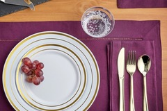 Request To Book & Pay In-Person (hourly/per party package pricing): 150 Piece Gold Lined Dinnerware Set