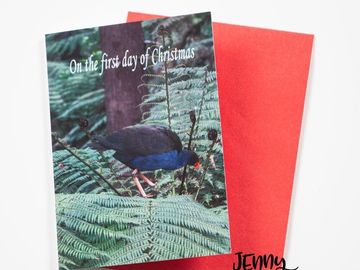 Products: Pukeko in a Ponga Tree Christmas Card