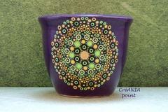 Vente au détail: Mandala vert sur le petit pot céramique peint a la main