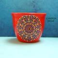 Vente au détail: Petit pot céramique pour de plantes grasses et mini fleurs peint