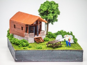 : Tiny Log House Miniature Model