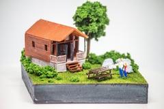 : Tiny Log House Miniature Model