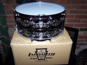 """Selling with online payment: Ludwig 100th Anniversary 14""""X 6 1/2"""" Engraved Black Magic Snare N"""