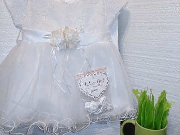 Kids: New Baby Girl Infant Christmas Holiday Christening party White Dr