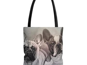 Selling: Bulldog Bag, Bulldog Tote Bag, Bulldog Purse, Travel Bag, Diaper