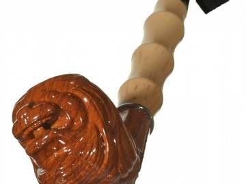 "Post Products:  8"" Churchwarden Bent End Pipe - Carved Lion"