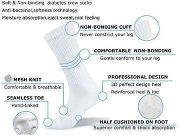Buy Now: (288) Physicians Approved Diabetic Socks Crew Unisex