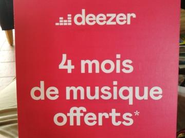 Vente: Carte abonnement 4 mois Deezer (40€)