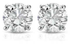Buy Now: 1/2Ct Round Genuine Diamond Studs Earrings in 14K White Or Yellow