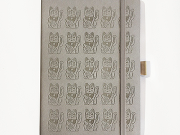: Lucky Cat Notebook - Taupe