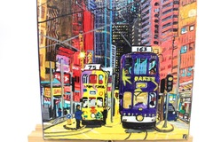: Acrylic Painting : HK Trams road